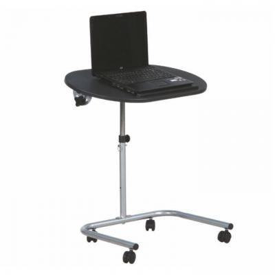 Állítható magasságú gurulós laptopasztal, fekete - TIBAULT